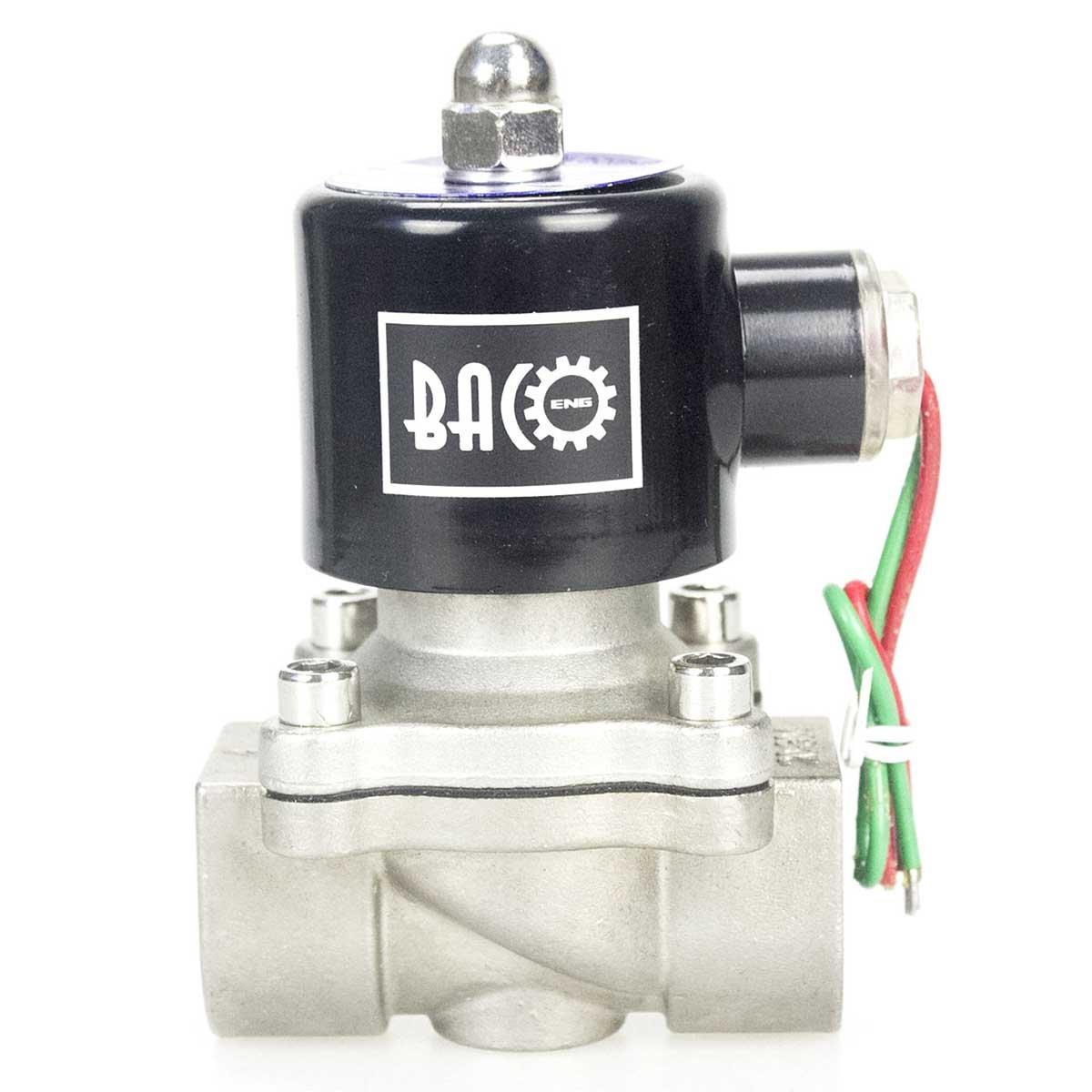 BACOENG DC 24V 1 v/álvula de solenoide el/éctrica Acero inoxidable Solenoid Valve para agua aire aceite NC