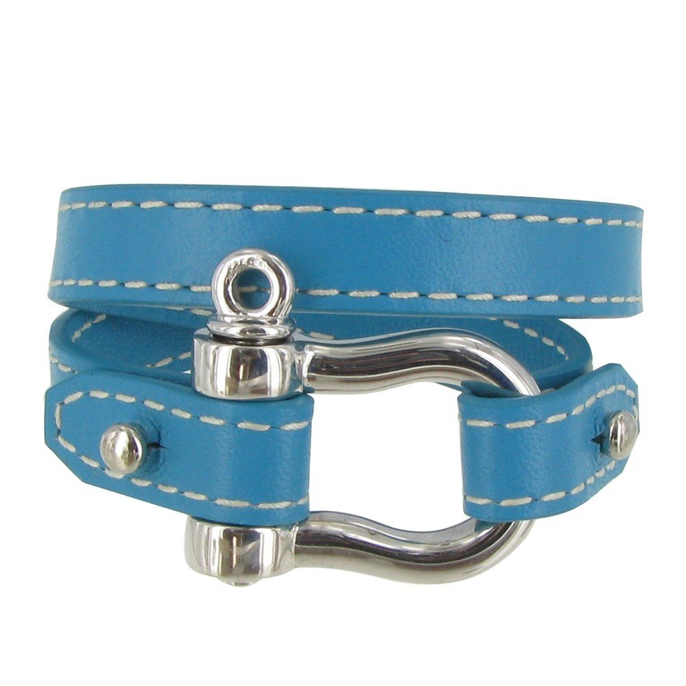 Les Poulettes Jewels - Sterling Silver Bracelet Double Turn - With Blue Leather and Shackles Knot Design