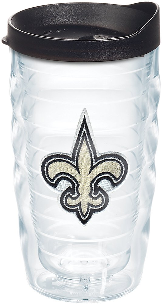 Tervis 1268397 NFL New Orleans Saints Primary Logo Tumbler with Emblem and Black Lid 10oz Wavy Clear