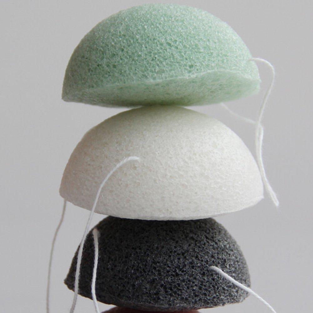 100% Natrual Konjak Face Washing Sponge with Semi-circle Shape 3 pcs(White+Black+Green) Wuudi