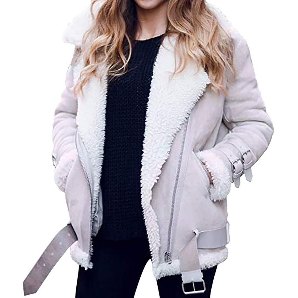 Women's Coat, FORUU Winter Faux Fleece Outwear Warm Lapel Biker Motor Aviator Jacket Gray