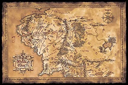 Mapa Tierra Media Hd.Poster El Senor De Los Anillos Mapa De La Tierra Media Oscuro 91 5cm X 61cm