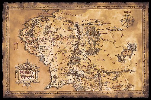 "Lord of the Rings Poster MAp of Middle earth (dark) (36""x24"")"
