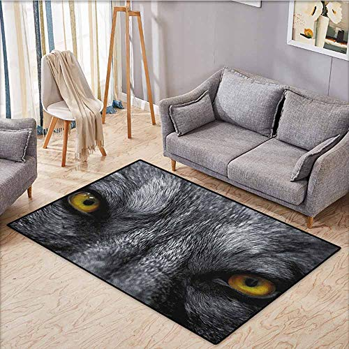 Indoor/Outdoor Rug,Eye,Dangerous Mammal Eyes of Wild Wolf Aggressive Predator Carnivore Image Print,Anti-Slip Doormat Footpad Machine Washable,3'11