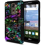 FINCIBO LG Stylo 2 LS775 Case, Dual Layer Hybrid Armor Heavy Duty Protector Cover Stand Soft TPU Skin For LG Stylo 2 LS775/ Stylus 2 K520/ Stylo 2 V VS835 - Purple Green Galaxy Marble