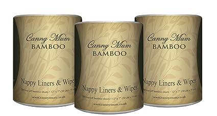 CannyMum Toallitas y Forro de Pañales de Bambú. Biodegradables. 600 hojas/rollo