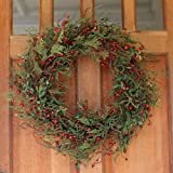 Marion Winter Berry Christmas Wreath 24inch Outdoor Wreath Garland (Small image)