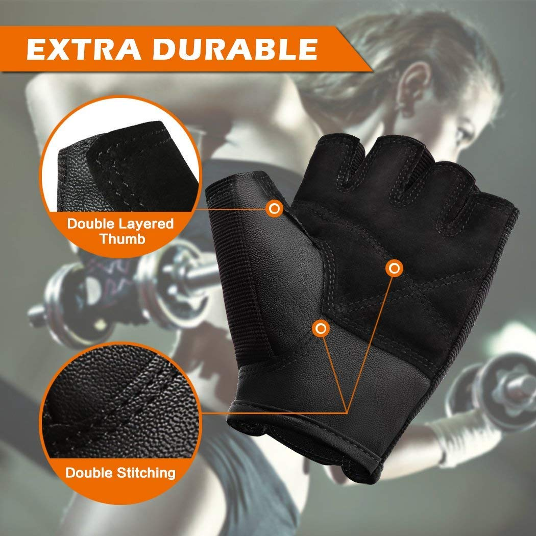 Weight Lifting Gym Gloves with Anti-Slip Leather Palm for Workout Exercise Training Fitness and Bodybuilding for Men and Women