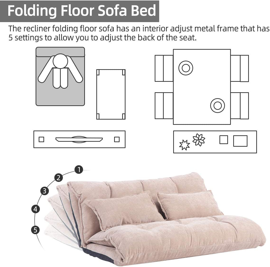 5 Positions Adjustable Floor Sofa and Couch with 2 Pillows for Living Room//Bedroom//Balcony Floor Sofa Bed for Adults Folding Floor Couch Bed Beige