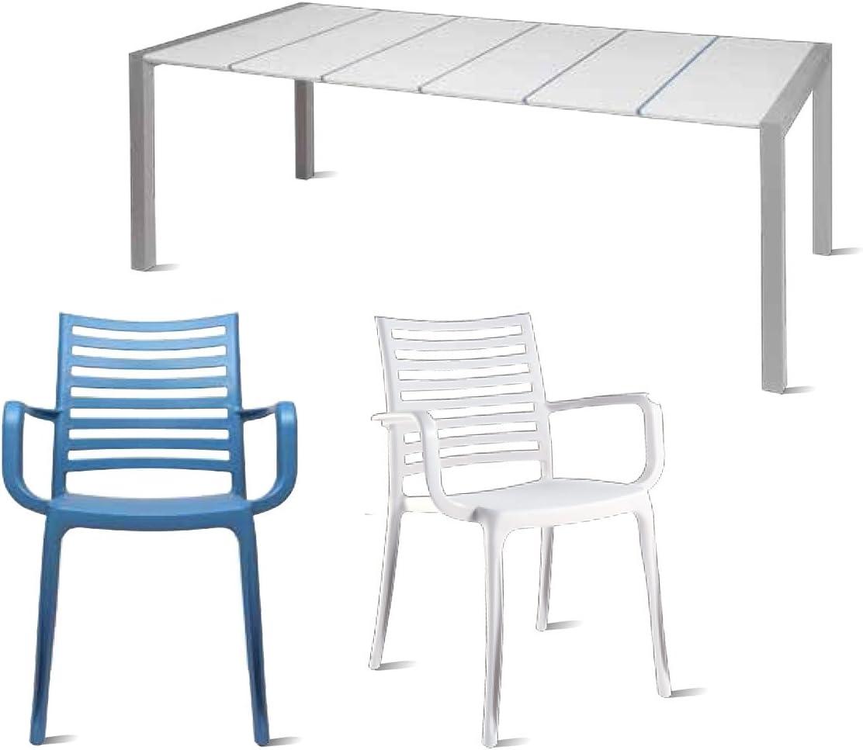 GROSFILLEX-Juego de muebles de jardín de la comida Sunday Deauville design, blanco: Amazon.es: Jardín