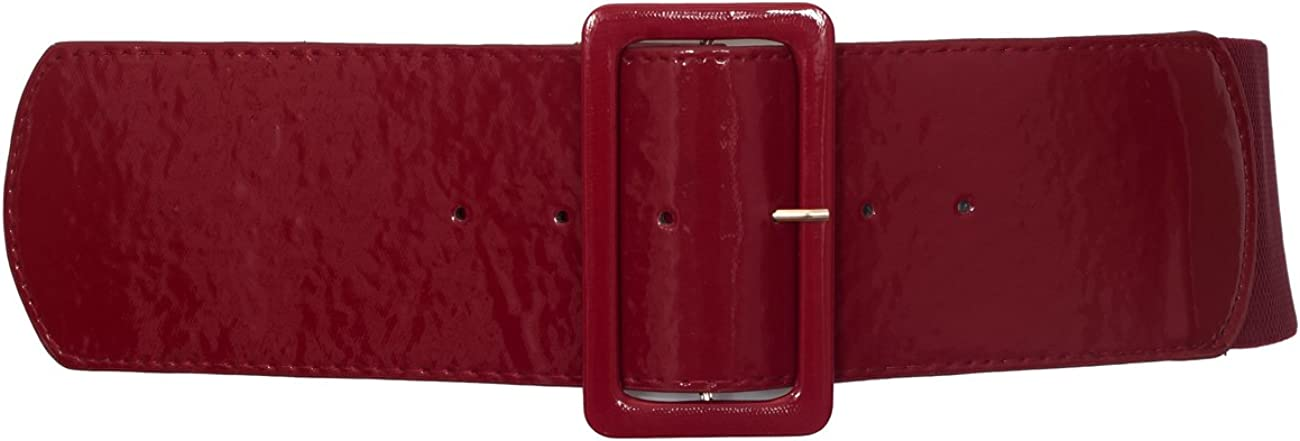 eVogues Women's Wide Patent Leather Buckle High Waist Fashion Belt at  Women's Clothing store