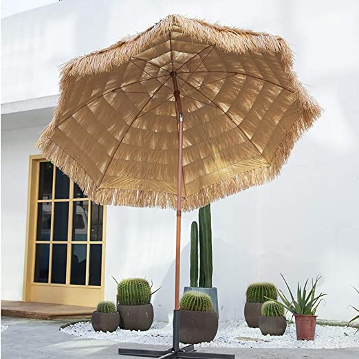 Sombrilla de paja basculante, 240 cm, sombrilla octogonal para piscina, terraza, pérgola, patio, estilo hawaiano: Amazon.es: Hogar