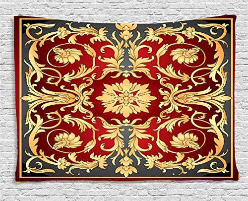 Turkish Pattern Tapestry, Ottoman Spiral Foliage Pattern Frame Filigree Style Royal and Retro, Wall Hanging for Bedroom Living Room Dorm, 60 W X 40 L Inches, Ruby Mustard Black Filigree Forest Frame