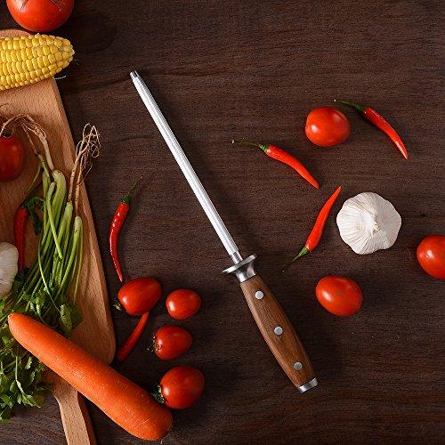 BGT Japanese 67 Layer High Grade VG-10 Super Damascus Steel Knives, Sharp, Teak Handle Professional Hammered Kitchen Knife Set with Knife Roll Bag 6Pcs Set (Silver Blade) by BGT (Image #6)