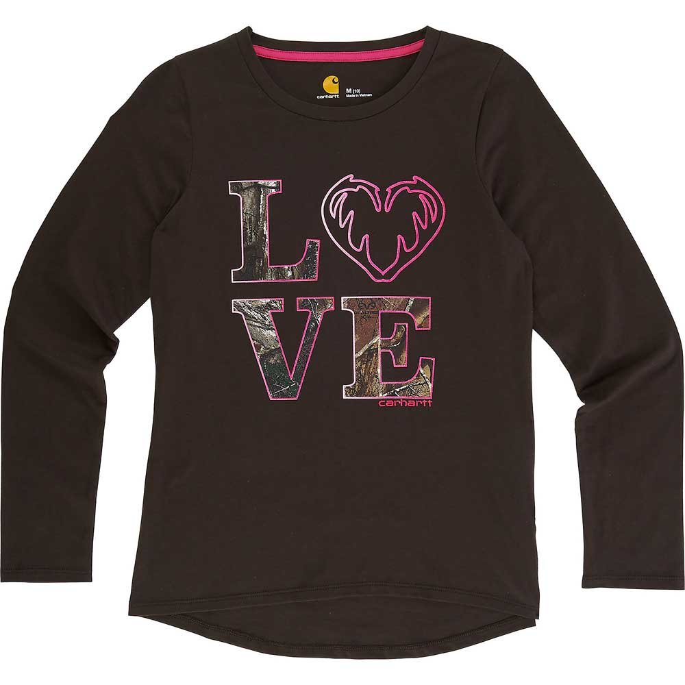 Carhartt Big Girls' Long Sleeve Tee Shirt, Love Dark Brown, S-8