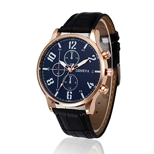 ... Stainless Steel Case Leather Strap Under 10 Analog Quartz Wrist Simple Watches Black Face Relojes De Hombre Birthday Gifts for Dad Boyfriend: Watches