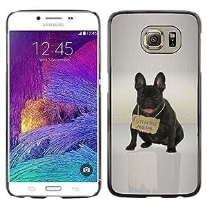Caucho caso de Shell duro de la cubierta de accesorios de protección BY RAYDREAMMM - Samsung Galaxy S6 - Lindo Bulldd Francés Mensaje de Rusia