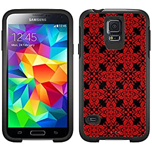 Skin Decal for Otterbox Symmetry Samsung Galaxy S5 Case - Victorian Retro Red on Black