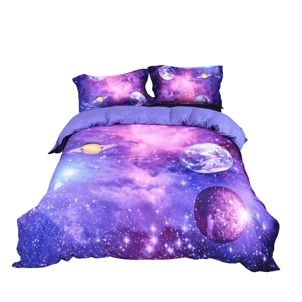 Beyonds Skin-Friendly 3 Piece Bed Set Purple Deep Pockets Bedding Set Includes x1 Duvet Cover x2 Pillowcases - Soft Polyester Fabric - Home School Bed Decor