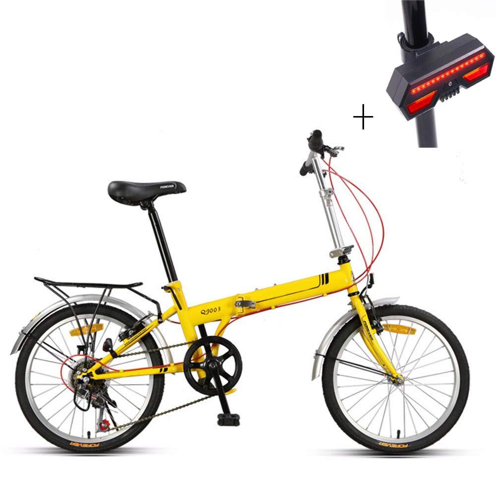 自転車、折りたたみ自転車、20インチ、高炭素鋼、前後の車輪Vブレーキ、調節可能なブレーキ、滑り止めタイヤ、+自転車のターンシグナル   B07H35NTKY