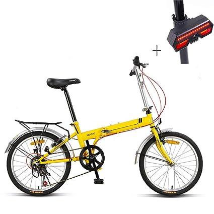 Huoduoduo Bicicleta, Bicicleta Plegable, 20 Pulgadas, Acero De Alto Carbono, Freno V