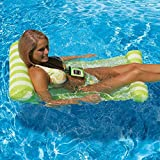 Topist Floating Hammock, Premium Inflatable Swimming Pool Float Bed Water Hammock with Universal Waterproof Case, Inflatable Swimming Pools Lounger, Ocean Lilo, Green
