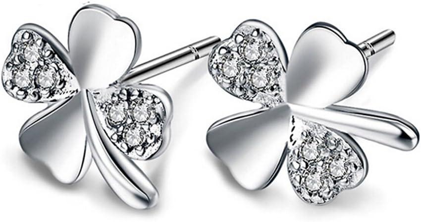 Nikgic - Pendientes de trébol de diamante de la suerte para boda, compromiso, fiesta