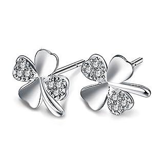 Weimay donna lega zirconi Lucky Clover 4foglie orecchini–gioielli accessori regalo, 1coppia (argento)