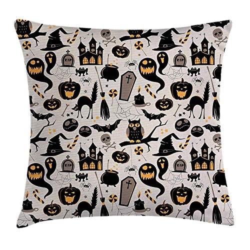 Abaysto Vintage Halloween Halloween Cartoon Jack O Lantern Tombstone Skulls and Bones Light Grey Multicolor Linen Throw Pillow Cases Cushion Case Size 20x20 Inches Personalized -