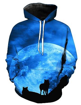 begrenzter Verkauf gute Textur 100% Spitzenqualität Siennaa Herren Kapuzenpullover Unisex 3D Druck Wolf Pullover ...