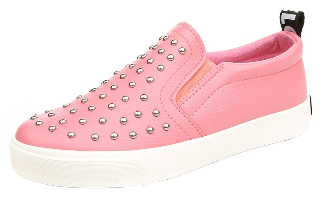 iDuoDuo Boys Girls Rivet Studded Low Top Dress Party Loafers Casual Leather Slip-on Pink 1 M US Little Kid