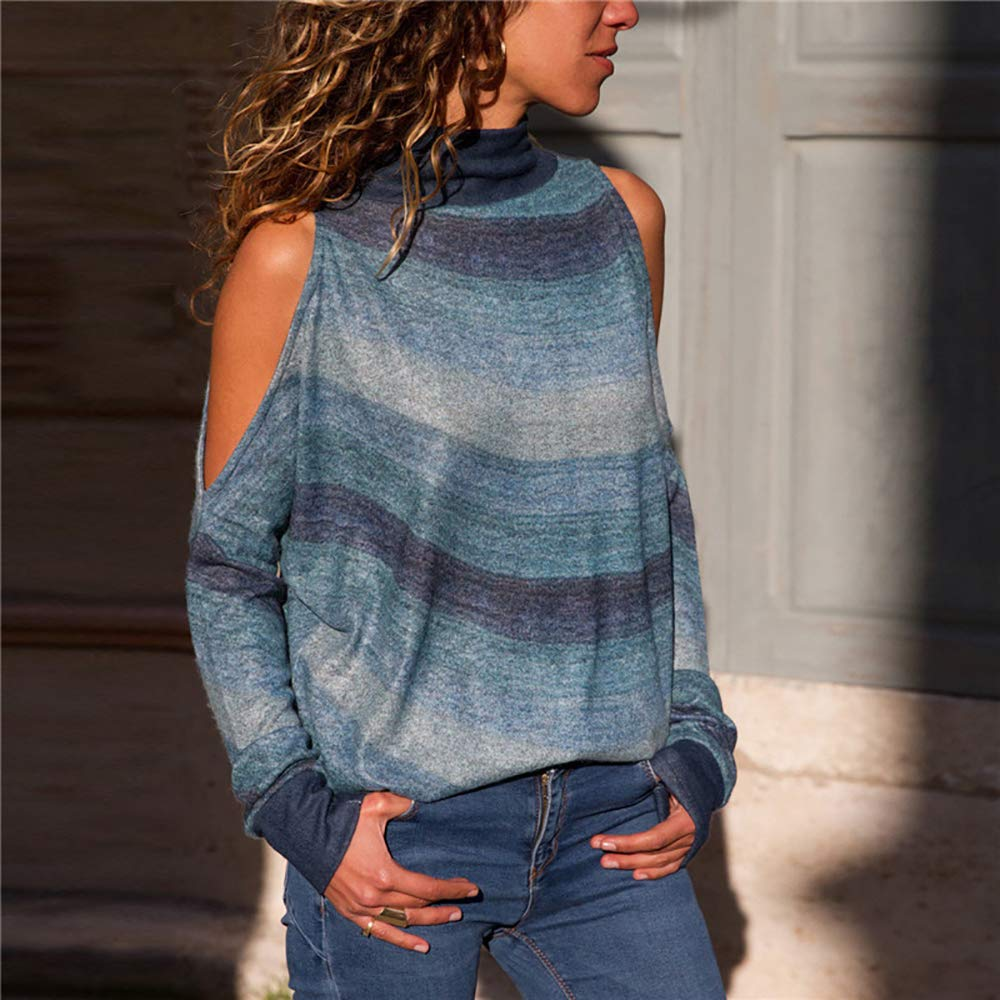 Pevor Womens Casual Henley Basic Shirts Long Sleeve Cold Shoulder Geometric Print Pullover Sweatshirts Plain Tunic Tops Blouse Green XXL