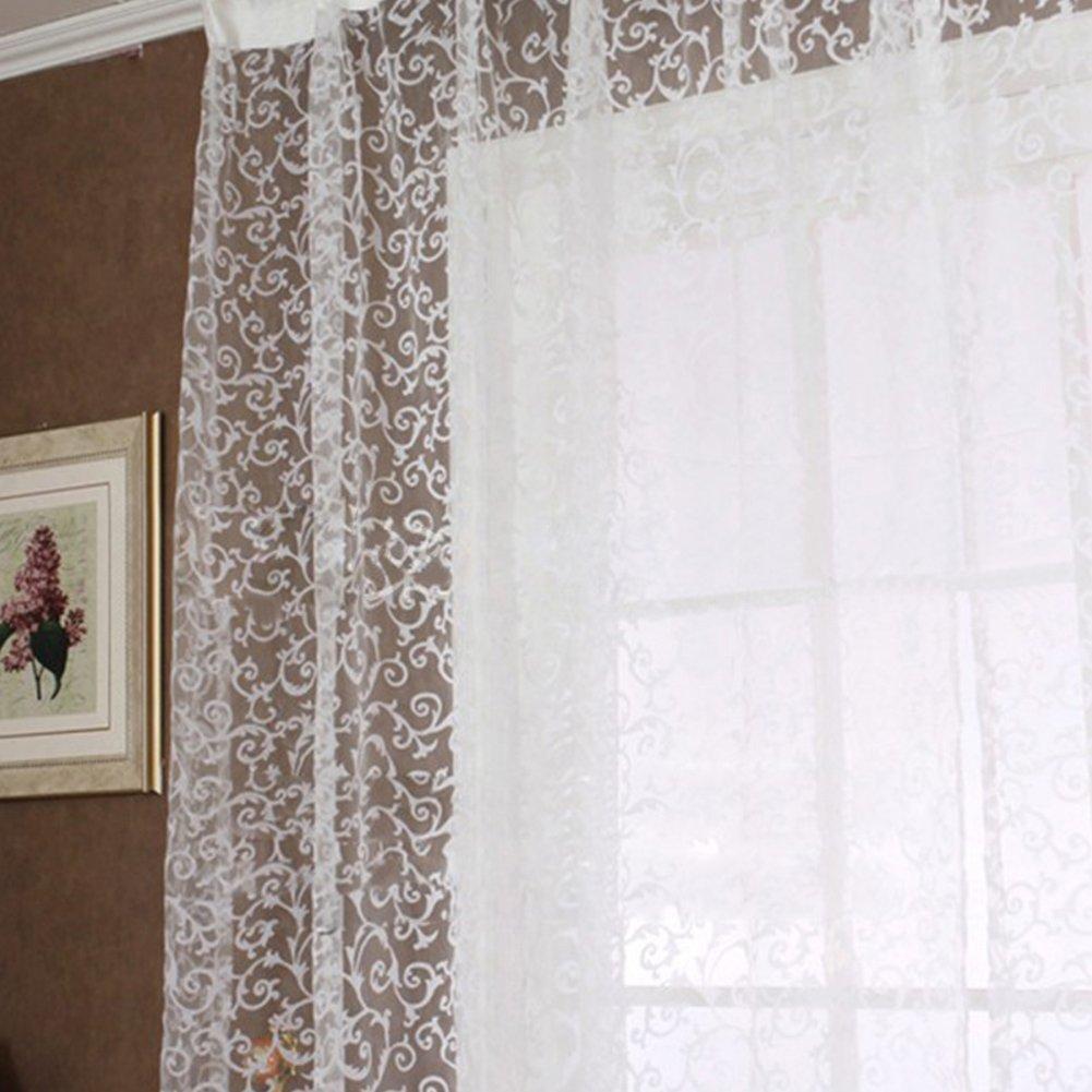 Pannello in voile, tinta unita, Hinmay europee jacquard design Window Curtain sheer panel Drapes sciarpe tenda per camera da letto, soggiorno, studio e decorazione domestica, White, 200cm x 100cm
