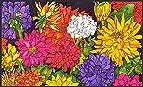 Toland Home Garden 800031 Soft Step Designer Mat, Standard, Dizzy Dahlias, Multicolor