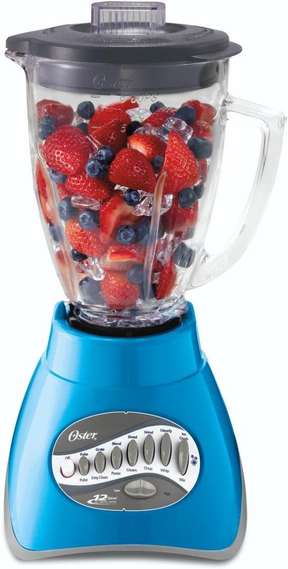 Oster BLSTCG-BL0-000 6-Cup Glass Jar 12-Speed Blender, Blue