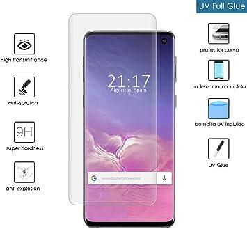 Protector Cristal Templado Completo Curvo UV Full Glue para Samsung Galaxy S10: Amazon.es: Electrónica