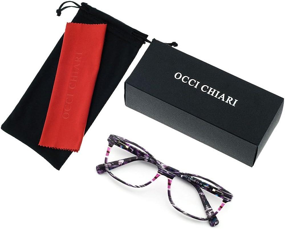 OCCI CHIARI Optical spectacle Frame Women Fashion Colorful Acetate Eyewear Frames Non-Prescription Eyeglasses with Clear Lenses