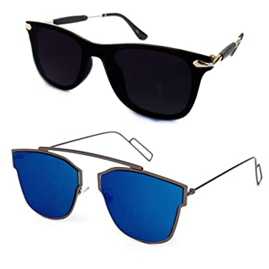 68da029cf38 TheWhoop Stylish New Combo UniBody Lens Design Mirror Goggles Wayfarer  Sunglasses For Men