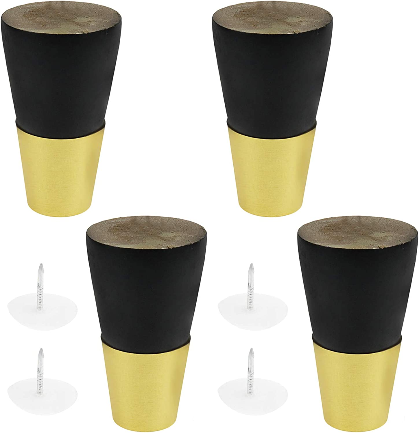 Geesatis 4 pcs Wooden Furniture Legs 8 cm / 3 inch Solid Wood Tapered Furniture Replacement Feet for Sofa Bed Coffee Table Cabinet Furniture, with Mounting Screws, Black