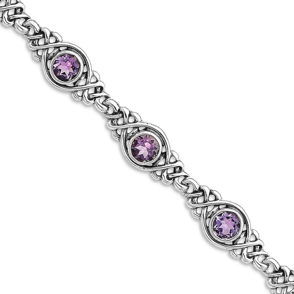 ICE CARATS 925 Sterling Silver Purple Amethyst Bracelet 7.25 Inch Gemstone Fine Jewelry Gift Set For Women Heart