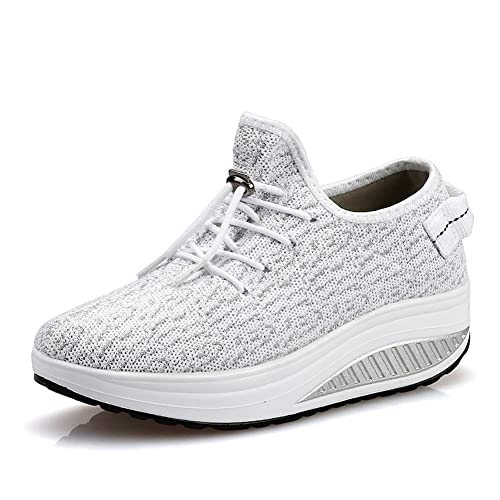 JARLIF Womens Platform Wedges Tennis Walking Sneakers Comfortable Lightweight High Heel Fitness Shoes