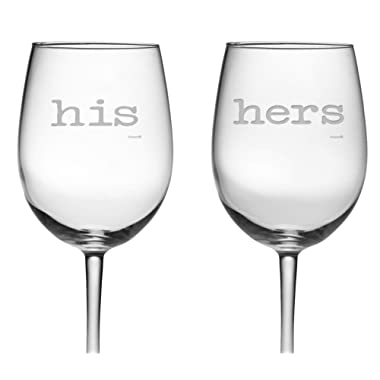 Fineware His and Hers Luminarc Wine Glasses -Great Anniversary or Couples Gift, 19 oz.