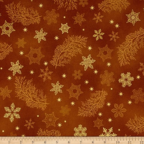 Kaufman Holiday Flourish Metallics Snowflake & Sprigs Gold Fabric By The Yard (Sprig Holiday)