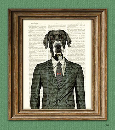 Maynard the Old Dog in Business Suit Great Dane illustration beautifully upcycled dictionary page book art print