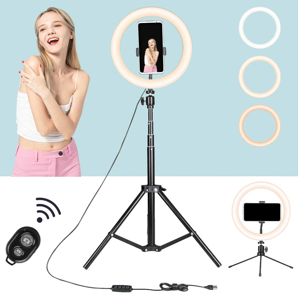 """LED Selfie Ring Light 10"""" with Adjustable Tripod Stand & Phone Holder for YouTube Video, TIK Tok and Makeup, Premium Dimmable LED Circle Lights Including Remote by DAKASON"""