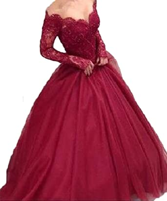 PinkMemory V-neck Off Shoulder Lace Long Sleeves Long Prom Dress Burgundy Prom Dress 8