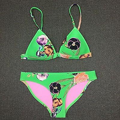 XIAOHUAHUA Taille Du Soutien-Gorge De Bikini, Taille, Poitrine, Plage, Plage, Maillot De Bain Et Les Femmes D'Impression Trois Pièces,Plongée Xs, Vert