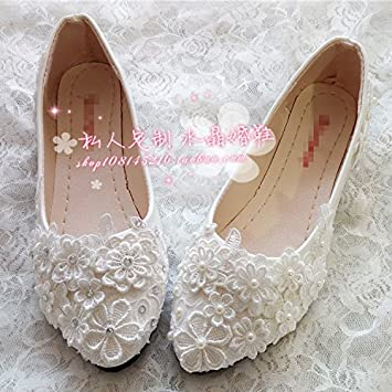 Vivioo Prom Sandals Bridal Shoes Lace Flower Pearl Crystal Slope