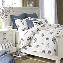 3 Piece Glaring Shells Motif Reversible Duvet Cover Set King Size, Nautical Mermaid Shell Patterned Bedding, Scenic Printed Bright Sea Creatures, Artistic Modern Couple Bedroom, Blue, White