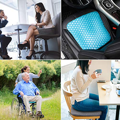 GALYGG Gel Seat Cushion with Non Slip Chair Pad Cover Breathable Honeycomb Prevents Soft Seat Pad Sweaty Bottom for Office Car Wheelchair, Egg Chair Cushion Pain Relieve Fatigue Back, Sciatica, Coccyx by GALYGG (Image #1)